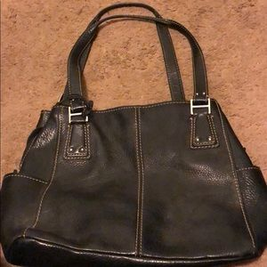 Large Fossil leather satchel black